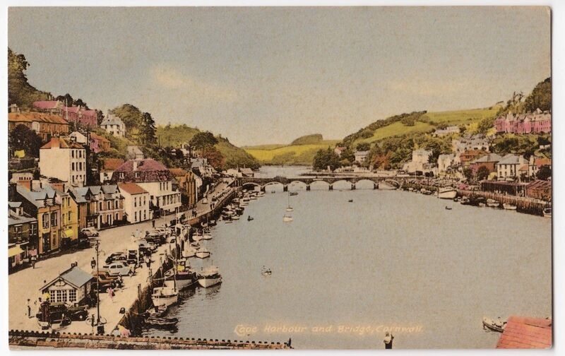 Hand tinted postcard looking up the Looe river