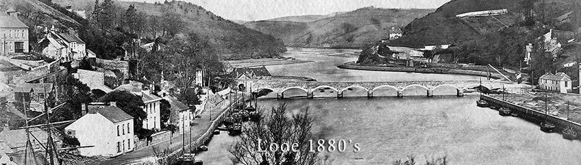 Looking up river at Looe in the early 1880s